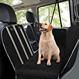 MANCRO Dog Car Seat Covers, Rear Car Seat Cover for Dogs with Mesh Viewing Window/Side Flaps Dog Hammock, Waterproof Heavy Duty Non-Slip Pet Seat Protector for Cars Trucks & SUV, 145 x 136 cm Black