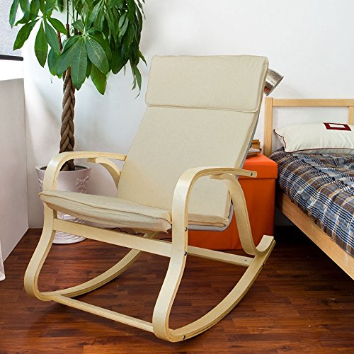 SoBuy Wood Relaxing Rocking Chair,Gliders,Lounge Chair with Cotton Cushion, FST15-W