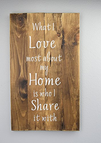 I love Most About My Home Sign - Wood sign sayings - (Country Life Black Walnut)