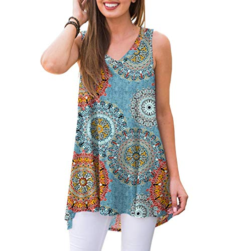 - Akihoo Women's Summer Casual SleevelessHigh and Low Print Swing Tshirt Sundress Sky Blue Print S