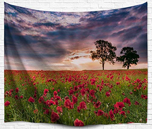 Red Flowers Wall Tapestries Decor, Magical Nature Purple Sky Wall Hanging Tapestry Bedspread Dorm Accessories Decor Beach Throw (80 X 60 Inch, Red Flower in Sunset)