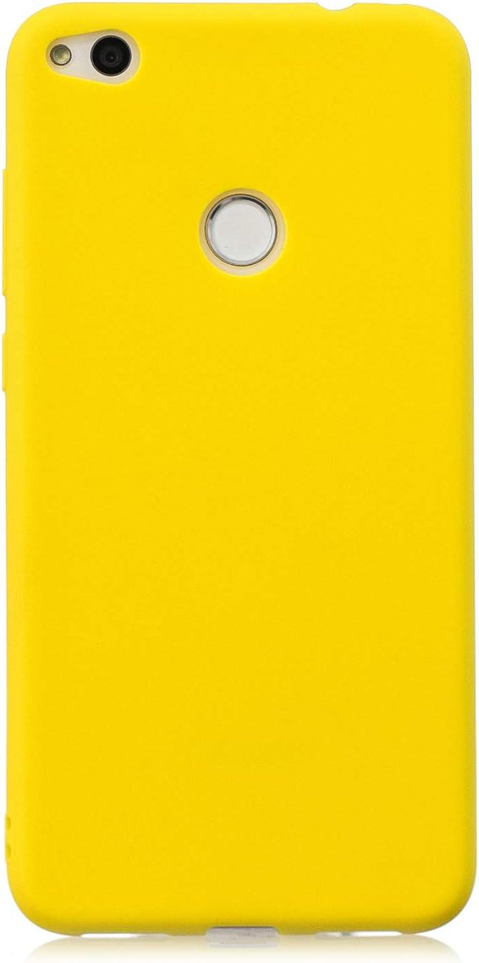 cuzz Funda para Huawei P8 Lite (2017)+{Protector de Pantalla de Vidrio Templado} Carcasa Silicona Suave Gel Rasguño y Resistente Teléfono Móvil Cover-Amarillo