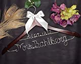 Personalized Wedding Hanger with Name and Date, Wood and Wire Hangers...