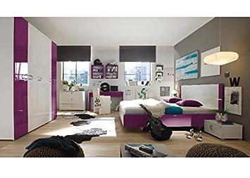 Schlafzimmer komplett Parma Weiß Lila Hochglanz Weiss Holz ...