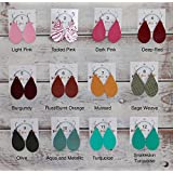 Extra Small Leather Teardrop Earrings - 53 Stylish Colors to Choose From