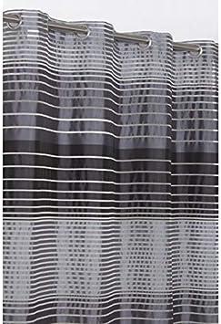 RideauDiscount Voilage 140 x 260 cm /à Oeillets Brod/é Motif Gribouillis Uni Blanc