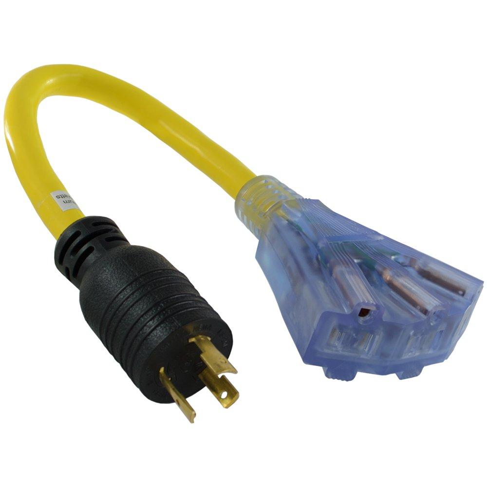 Conntek 1.5-Feet 20-Amp STW 12/3 Tri-Outlet Cord, 20-Amp Locking L5-20P Plug to Tri-Female (35-15R)