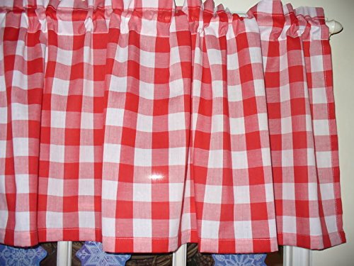Red White Checked buffalo country retro diner fabric kitchen curtain Valance