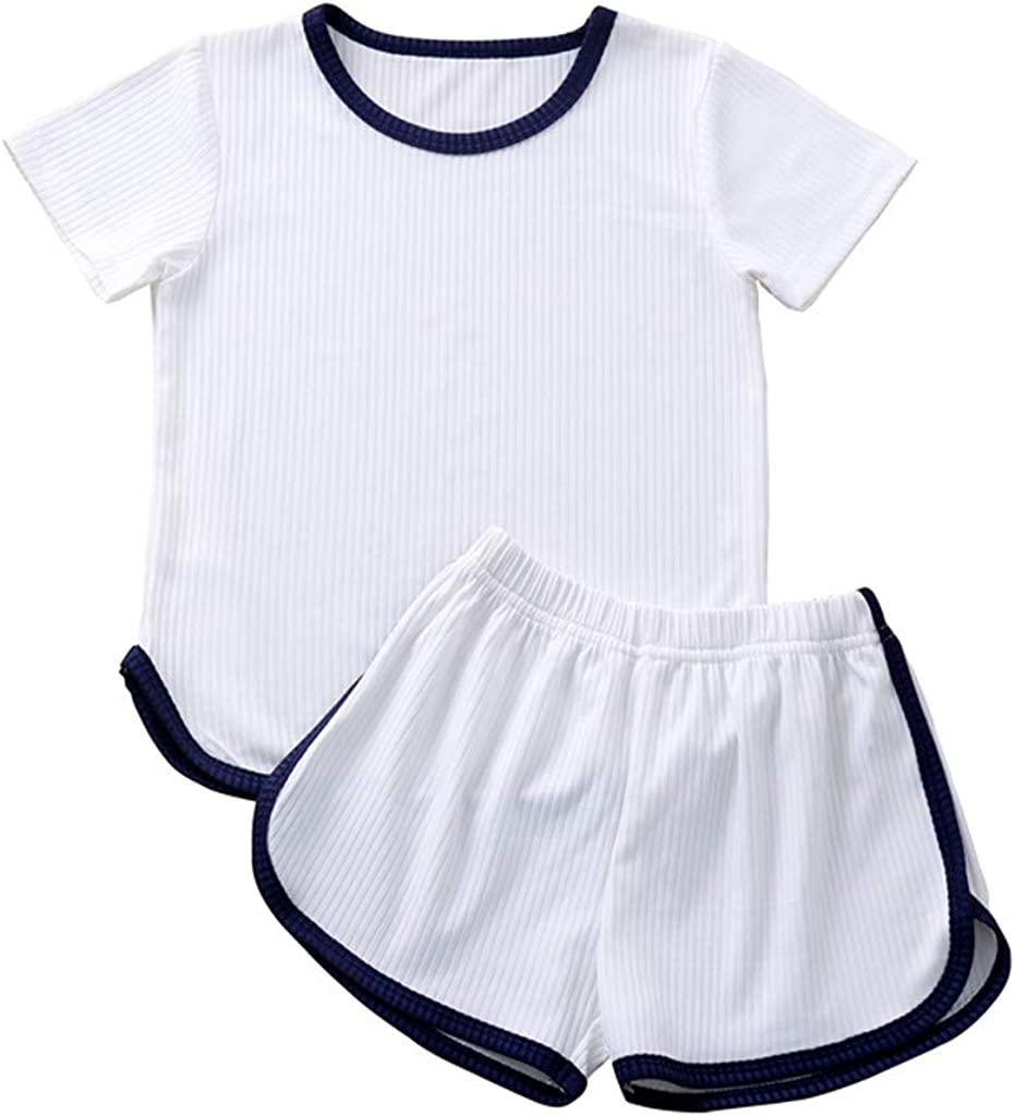 Toddler Kids Boys Girls Summer Tops T-shirt Shorts Pants Casual Outfit Tracksuit