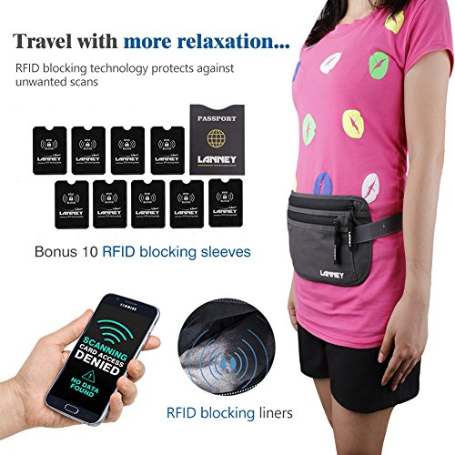 2358dfad7134 Travel Money Belt for Men Women Waist Wallet with 10 RFID Blocking Sleeves  Set