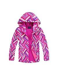 Achiyi Baby Girls Hooded Lightweight Jacket Kids Rain Jacket Waterproof Coat Raincoat Light Windbreaker for Camping Hiking