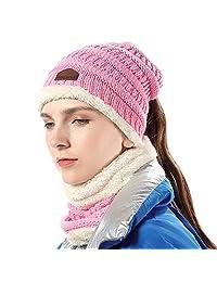 Girls Hat Scarf Set Knit High Ponytail Beanie Warm Liner Winter Skull Cap, Pink