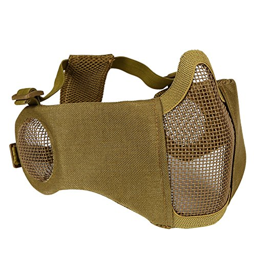 OUTRY Half Face Mask - One Size Fits Most - Lower Face Protective Mask for Airsoft/Paintball/BB Gun/CS Game/Hunting/Shooting - Tan/Coyote Brown - Steel Mesh with Ear Protection ()