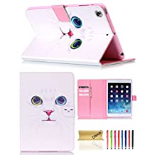 iPad Mini Case, Dteck(TM) Slim Fit Cute PU Leather Flip Stand Wallet Case with Auto Sleep/Wake Function Smart Cover for Apple iPad Mini 1 2 3 (01 White Cat)