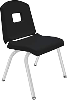 "product image for Creative Colors 1-Pack 14"" Kids Preschool Stackable Split Bucket Chair in Black with Platinum Silver Frame and Self Leveling Nickel Glide"