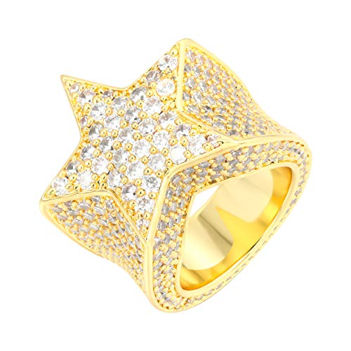 TRIPOD JEWELRY Mens Hip Hop 18K Gold Plated Iced Out Cluster Simulated Diamond AAA CZ Bling Star Punky Ring SZ 7-12 Band (Gold, 8)
