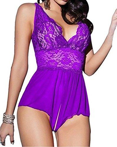 Cotyledon Women Lingerie Open Crotch Leotard Teddy Nightwear Lace Chemises Babydoll (Open Bust Teddy Lingerie)