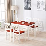 Mecor 5 Piece Kitchen Dining Table Set, 4 Wood