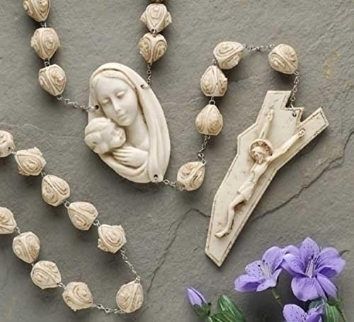 "Price comparison product image 65"" Carved Alabasterite Mother With Child Wall Rosary"