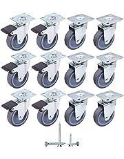 (Pack van … pcs) zwenkwielen Ø 75 mm zachte beweging rubberen wielen met metalen montageplaten, zwenkwielen, inclusief schroeven
