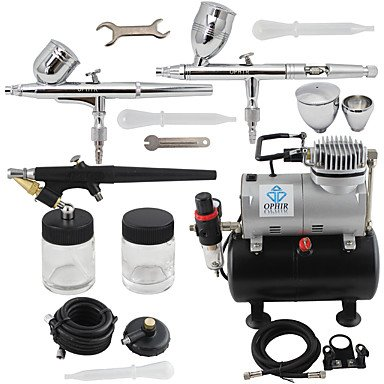 WST 3-Airbrush Spray Gun Kits with Air Tank Compressor for Hobby Model Airplane Car Cake Decoration Makeup , 110v by ZHUQUE