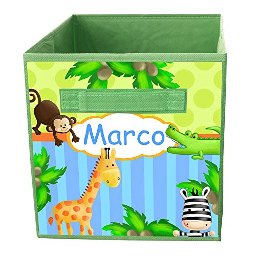 Toad and Lily Bright Jungle Safari Fabric BIN Storage Bin Giraffe Monkey Zebra Personalized Bedroom Baby Nursery Organizer for Toys or Clothing FB0033