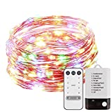 YALFEN Copper Wire Lights 40ft with 120 LEDs (Dual LED Bead)Waterproof Fairy String Lights with Dimmable Remote 8 Modes Timer USB Powered and Battery Powered for Wedding Yard Garden Patio Decorative