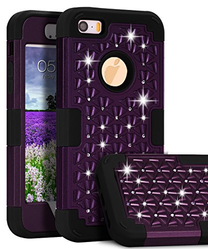 iPhone SE Case,iPhone 5S Rose Gold Case, TOPSKY [Shock Absorption] Studded Rhinestone Bling High Impact Resistant Armor Defender Case For Apple iPhone 5 /iPhone 5S / iPhone SE, Purple/Black