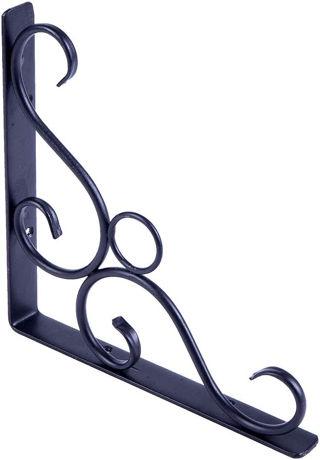 Fishoo ✈2-3 Days Arrived 8.3 2pcs Cast Iron Antique Style Garden Braces Rustic Shelf Bracket Black