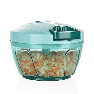 Ourokhome Mini Garlic Chopper Grinder - Manual Processor for Vegetables, Garlic, Onions (Blue)