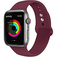 Ontube Bands Compatible with Apple Watch,Soft Silicone Adjustable Sport Straps for iWatch Series 5/4/3/2/1 (42MM/44MM, Wine Red)