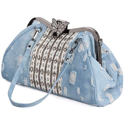 COOFIT Women's Denim Blue Knitted Top Handle Handbags