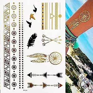 adgkitb 3pcs Tatuajes temporales Minimalistas de Oro metálico ...