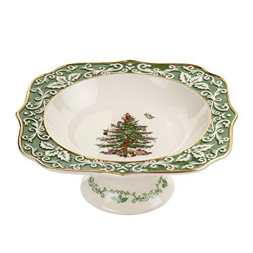 Tree Christmas Embossed - Spode Christmas Tree Embossed Footed Bowl, Gold