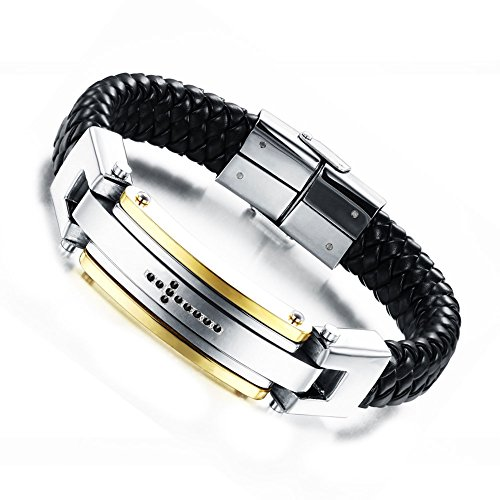 Unistyle Fashion Handmade Vintage Jewelry Mens Stainless Steel Genuine Leather Cool Woven Bangle Bracelets Unique Personalized Charm Braided Rhinestone Cross Cuff Bracelet Bangles Designs Silver Gold Black