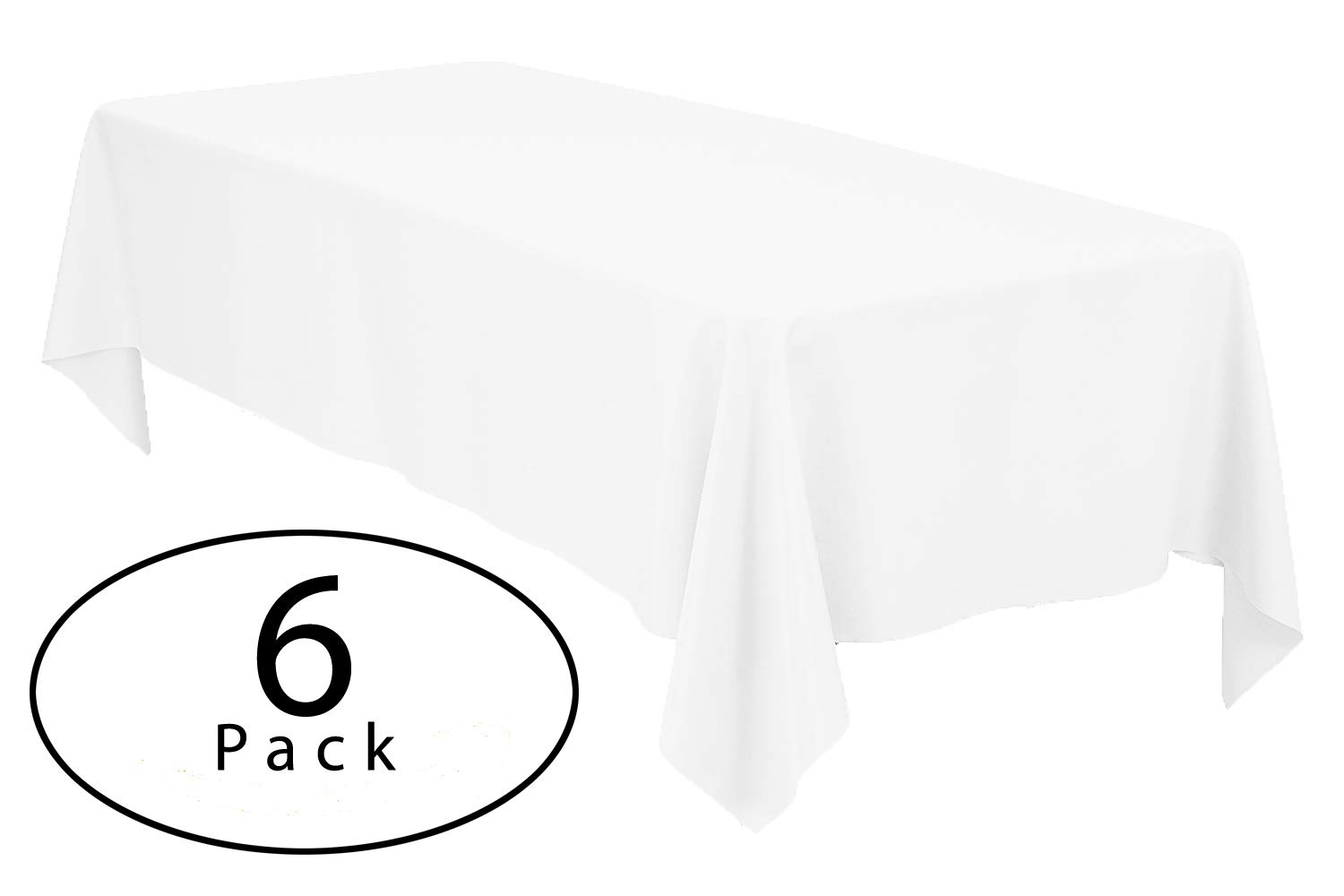 Minel Disposable Party Table Cloths Rectangular 6 Pack White by Minel (Image #1)