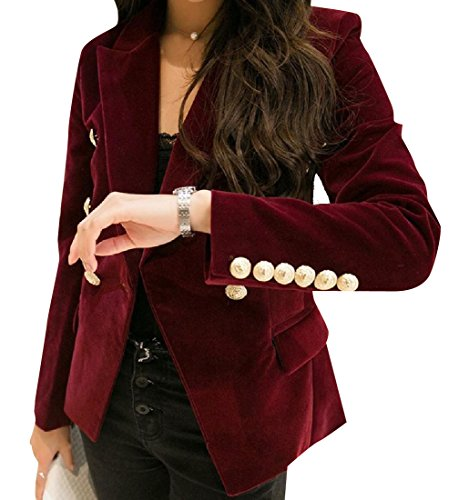 Tootless-Women Slim Fit Open Front Velour Velvet Textured Sport Coat Wine Red - Blazer Velour