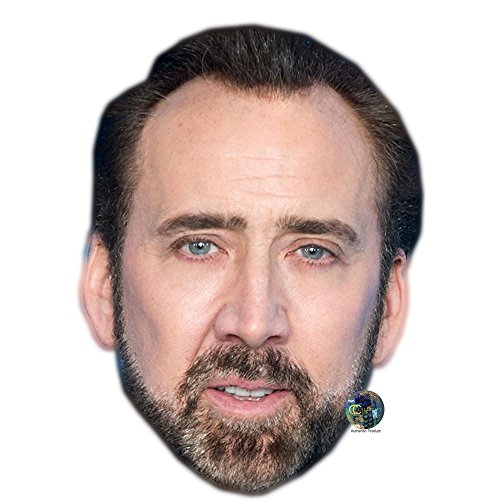Nicolas Cage (Beard) Celebrity Mask, Card Face and Fancy Dress - Nicolas Cardboard Cage