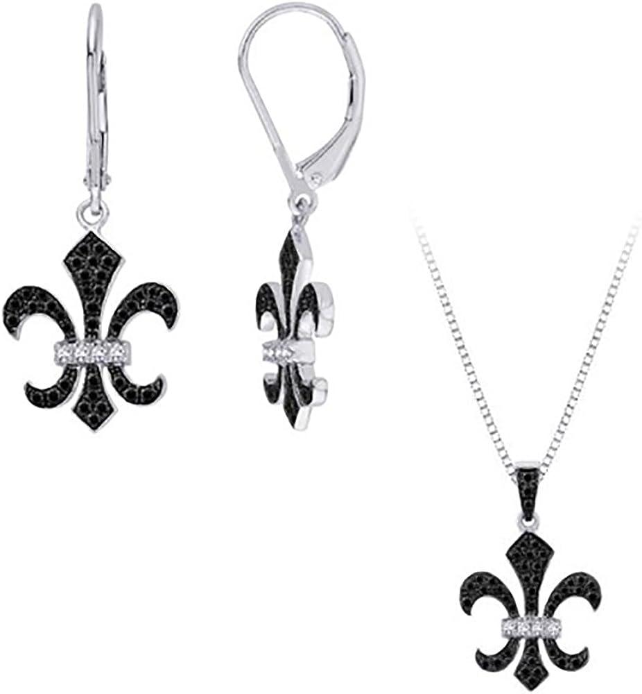 1//4 cttw KATARINA Gemstone Floral Leaf Pendant Necklace in Sterling Silver