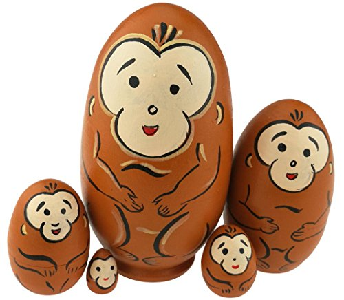 Winterworm Cute Egg Shape Animal Theme Handmade Wooden Russian Nesting Dolls Matryoshka Dolls Set 5 Pieces for Kids Toy Birthday Christmas Easter Gift Home Decoration-Monkey