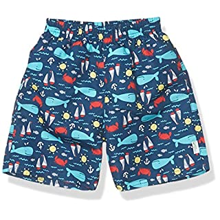 i play. by green sprouts baby-boys Trunks with Built-in Reusable Swim Diaper,Navy Nautical Whale,12mo
