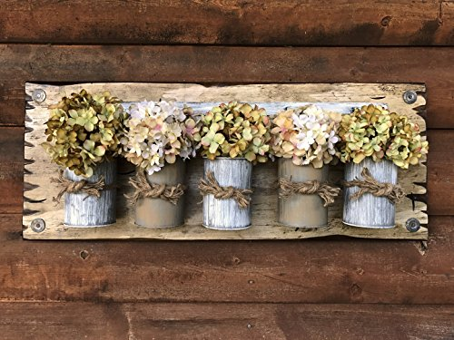 """Tin Can Wall Sign with or without flowers - TAN & CREAM - Tin Jars on Wood Sign - Distressed Rustic Antique White Home Decor *Charming Decorative Wall Planter 30""""X12"""""""
