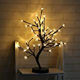 Lxcom Cherry Blossom Desk Top Bonsai Tree Light 0.52M/20Inch 48LEDs Cherry Blossom Tree Branch Lights Table Lamp Black Branches Battery Powered for Christmas Party Wedding Office Home, Warm White