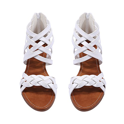 Criss Cross Wedge Sandal - Womens Braided Strappy Wedge Gladiator Criss Cross Ankle Wrap Low Heel Sandals