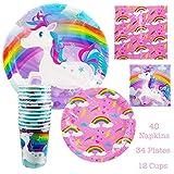 86 Piece Disposable Bday Dinnerware Set Bundle - Serves 24 - Rainbow Unicorn Party Supplies - Includes Paper Plates, Napkins, Cups, Assorted Colors