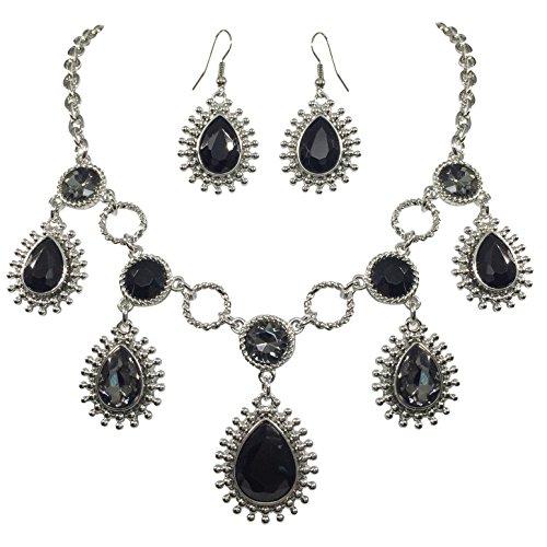 Big Bling Fancy Rhinestone Statement Necklace and Dangle Earring Set (Black Teardrop - Necklace Teardrop Faux