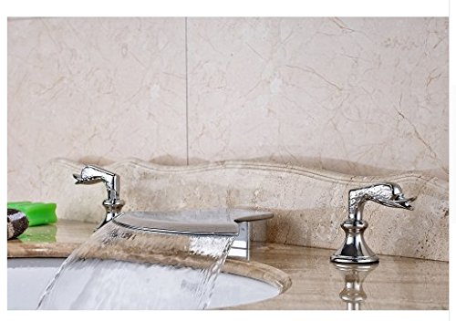 Gowe Axe Design Waterfall Spout Bathroom Sink Faucet Widespread 3pcs Mixer Tap Chrome Finished 1
