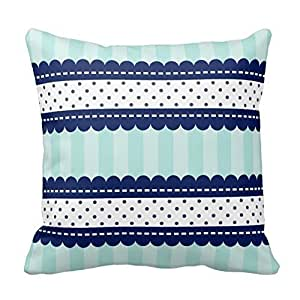 HSArtStore Blue Stripes And Polka Dots Pattern Cotton linen decorative pillow pad cover square box 18 x 18 inch
