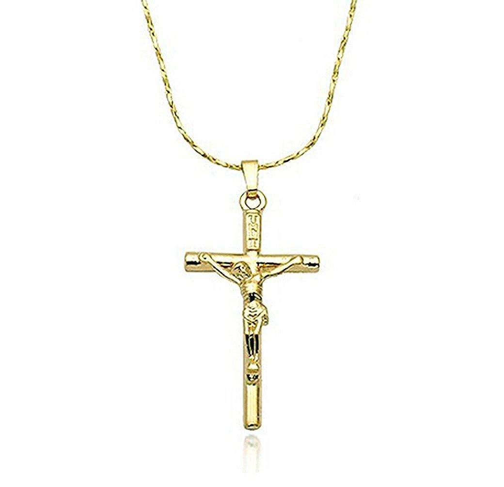 "Rigant Jesus Christ Crucifix Cross Unisex Pendant Necklace Fashion Jewelry  18"""
