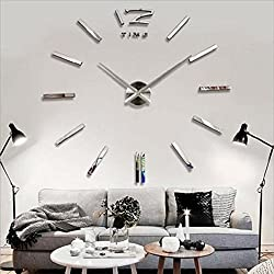 Soledi Modern DIY 3D Frameless Large Silver Wall Clock Room Home Decorations
